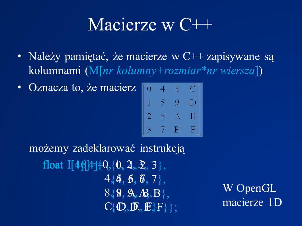 Macierze w C++ Należy pamiętać, że macierze w C++ zapisywane są kolumnami (M[nr kolumny+rozmiar*nr wiersza])